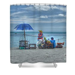 Beach Sellers Shower Curtain by Michelle Meenawong