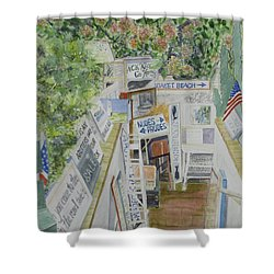 Shower Curtain featuring the painting Beach Signs by Carol Flagg