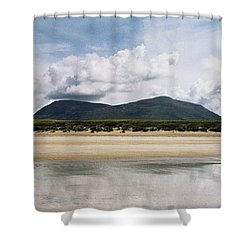 Shower Curtain featuring the photograph Beach Sky And Mountains by Rebecca Harman