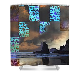 Beach Stamped Shower Curtain by Adria Trail