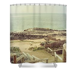 Beach Steps Shower Curtain by Elaine Teague
