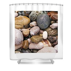 Beach Stones Triptych Shower Curtain by Stelios Kleanthous
