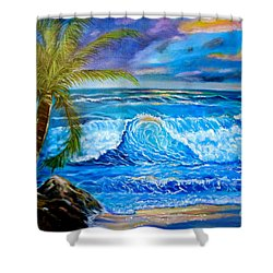 Beach Sunset In Hawaii Shower Curtain