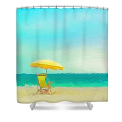 Shower Curtain featuring the painting Got Beach? by Douglas MooreZart