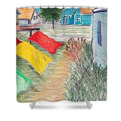 Beach Town Shower Curtain by M West