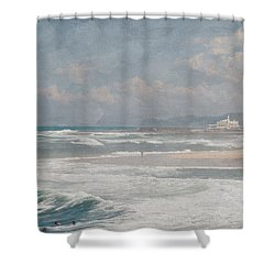 Beach Triptych 1 Shower Curtain by Linda Lees