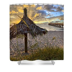 Beach Umbrella Shower Curtain by Debra and Dave Vanderlaan