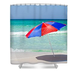 Beach Umbrella Shower Curtain by Shelby  Young