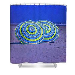 Beach Umbrellas By Jan Marvin Studios Shower Curtain