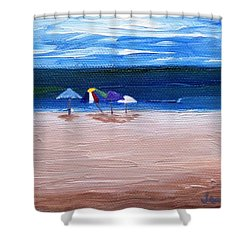 Shower Curtain featuring the painting Beach Umbrellas by Jamie Frier