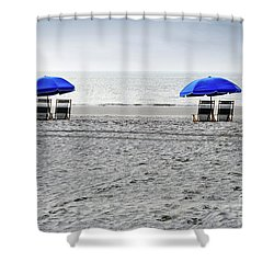 Beach Umbrellas On A Cloudy Day Shower Curtain