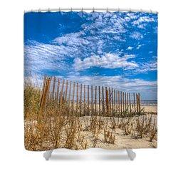 Beach Under Blue Skies Shower Curtain by Debra and Dave Vanderlaan