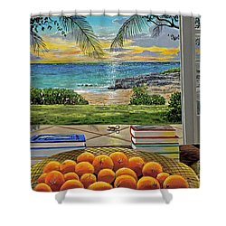Beach View Shower Curtain by Carey Chen