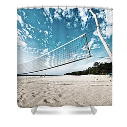 Shower Curtain featuring the photograph Beach Volleyball Net by Yew Kwang
