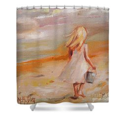 Beach Walk Girl Shower Curtain