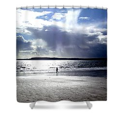 Lone Beach Walker Shower Curtain