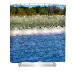 Beach With Short Dune Shower Curtain by Michelle Calkins