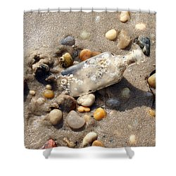 Shower Curtain featuring the photograph Beached Bottle by Karen Silvestri