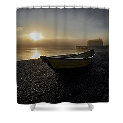 Beached Dory In Lifting Fog  Shower Curtain
