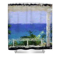 Shower Curtain featuring the digital art Beachfront Oasis by Anthony Fishburne