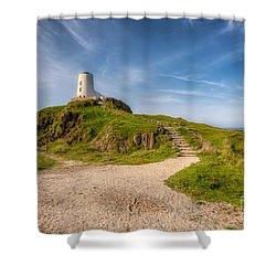 Beacon At Llanddwyn Shower Curtain by Adrian Evans
