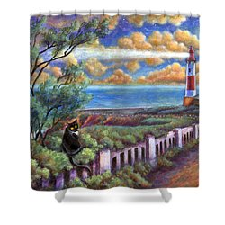 Shower Curtain featuring the painting Beacons In The Moonlight by Retta Stephenson