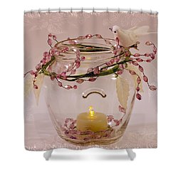 Shower Curtain featuring the photograph Beaded Candle Jar by Sandra Foster