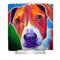 Beagle - Copper Shower Curtain by Alicia VanNoy Call