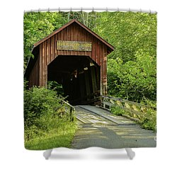Bean Blossom Covered Bridge Shower Curtain by Mary Carol Story