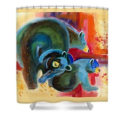 Bear Family In Red Shower Curtain by Kathy Braud