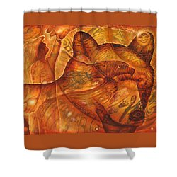Bear Hands Shower Curtain by Kevin Chasing Wolf Hutchins