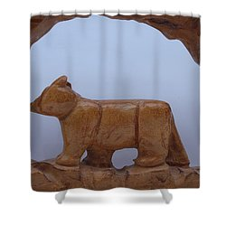 Bear In A Cave Shower Curtain by Robert Margetts