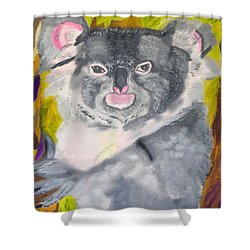 Shower Curtain featuring the painting Koala Hug by Meryl Goudey