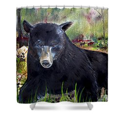 Shower Curtain featuring the painting Bear Painting - Blackberry Patch - Wildlife by Jan Dappen
