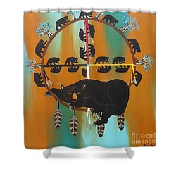 Bear Totem And Medicine Wheel Shower Curtain