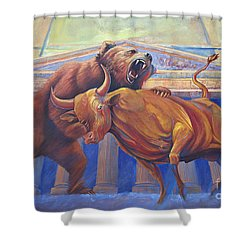 Bear Vs Bull Shower Curtain by Rob Corsetti