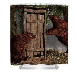 Bears Around The Outhouse Shower Curtain by Daniel Eskridge