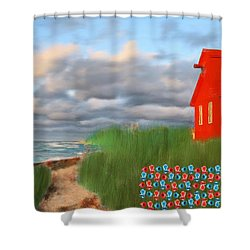 Beautification Of A Lighthouse Shower Curtain by Bruce Nutting