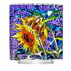Shower Curtain featuring the painting Beautiful And Bright Sunflowers by Annie Zeno