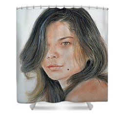 Beautiful And Sexy Actress Jeananne Goossen IIi  Shower Curtain by Jim Fitzpatrick