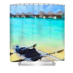 Beautiful Beach With Water Bungalows At Maldives Shower Curtain by Lanjee Chee