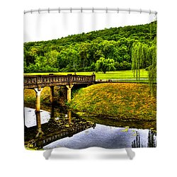 Beautiful Blowing Spring Park Shower Curtain by David Patterson