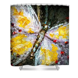 Beautiful Butterfly Ruby Jewel Abstract Shower Curtain by Tracie Kaska