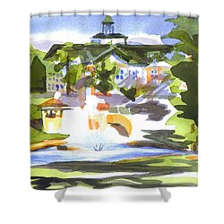 Beautiful Day At The Baptist Home Of The Ozarks In Watercolor Shower Curtain by Kip DeVore
