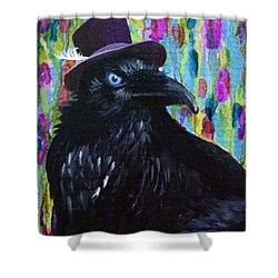 Beautiful Dreamer Black Raven Crow 8x10 Mixed Media By Jaime Haney Shower Curtain