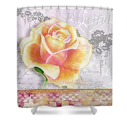 Beautiful Floral Peach Rose Original Flower Painting By Megan Duncanson Shower Curtain by Megan Duncanson