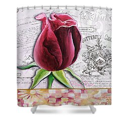 Beautiful Floral Pink Rose Original Flower Painting By Megan Duncanson Shower Curtain by Megan Duncanson