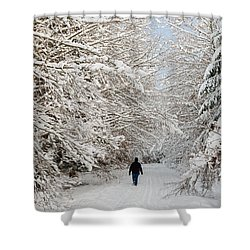 Beautiful Forest In Winter With Snow Covered Trees Shower Curtain by Matthias Hauser