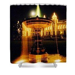 Beautiful Fountain At Night Shower Curtain by John Malone