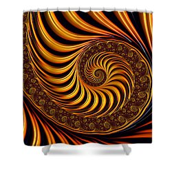 Beautiful Golden Fractal Spiral Artwork  Shower Curtain